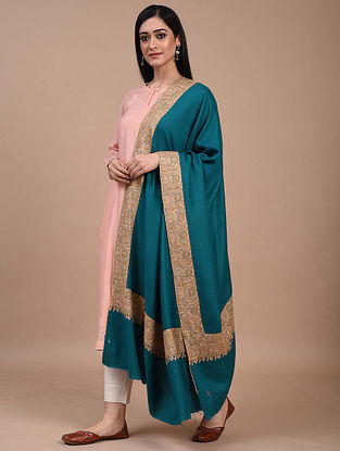 Blue Hand Embroidered Sozni Pashmina Shawl