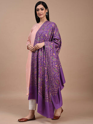 Purple Hand Embroidered Sozni Pashmina Shawl