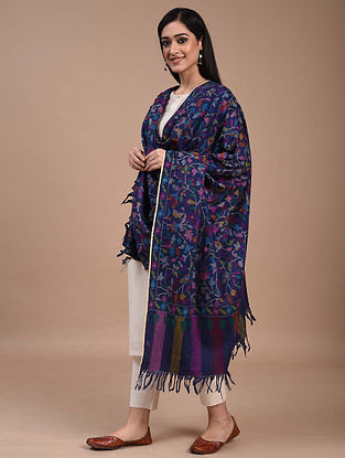 Blue Handwoven Kani Jamawar Pashmina Shawl