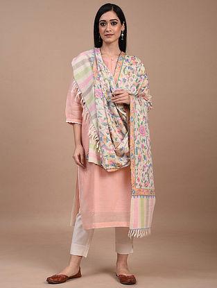 White Handwoven Kani Jamawar Pashmina Shawl