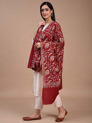 Red Hand Embroidered Sozni Pashmina Shawl
