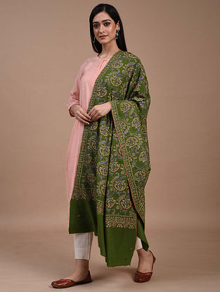 Green Hand Embroidered Sozni Pashmina Shawl