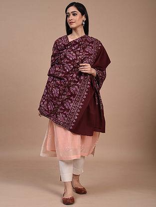 Maroon Hand Embroidered Sozni Pashmina Shawl