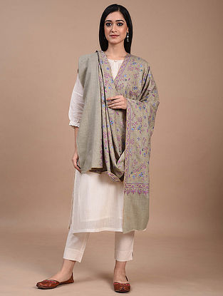 Grey Hand Embroidered Sozni Pashmina Shawl