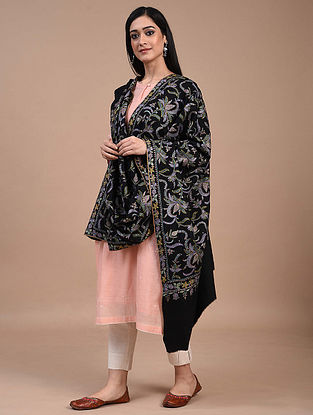 Black Hand Embroidered Sozni Pashmina Shawl