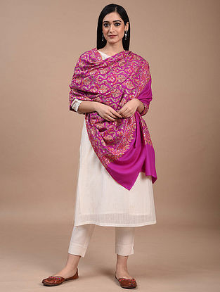 Pink Hand Embroidered Sozni Pashmina Shawl