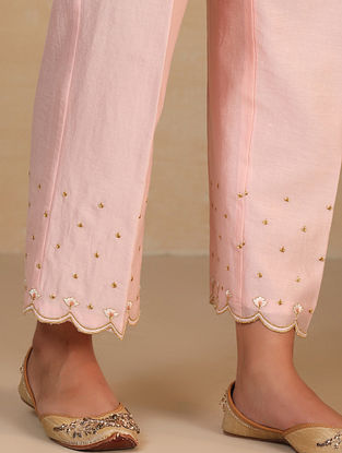Pink Embroidered Silk Chanderi Palazzos with Scallops