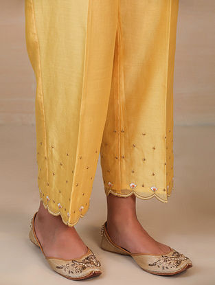 Yellow Embroidered Silk Chanderi Palazzos with Scallops