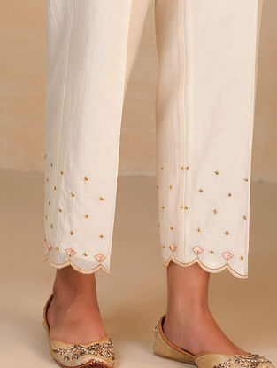 Ivory Embroidered Silk Chanderi Palazzos with Scallops