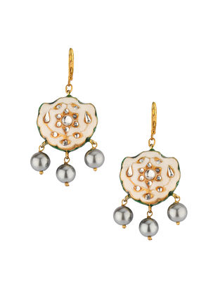 Cream Gold Tone Enameled Earrings With Pearls