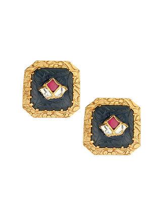 Grey Red Gold Tone Kundan Earrings With Onyx