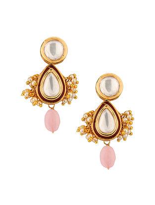 Gold Tone Kundan Earrings With Rose Quartz