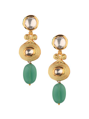 Green Gold Tone Kundan Earrings With Jade