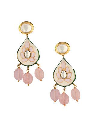 Pink Gold Tone Enameled Kundan Earrings With Rose Quartz