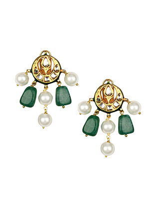 Green Gold Tone Kundan Earrings With Jade And Pearls