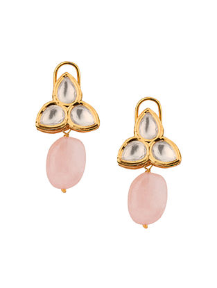Pink Gold Tone Kundan Earrings With Rose Quartz