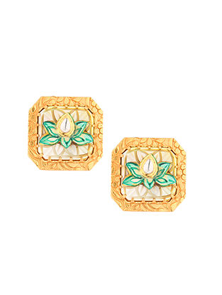 Green Gold Tone Kundan Earrings With Mother Of Pearl