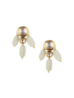 White Gold Tone Kundan Earrings With Jade