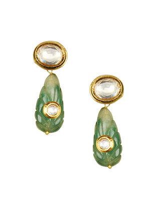Green Gold Toe Kundan Earrings With Jade