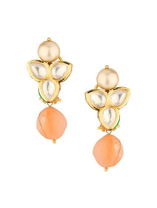 Peach Gold Tone Kundan Earrings With Carnelian And Pearls