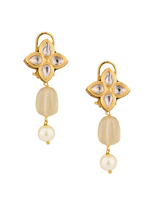 Grey Gold Tone Kundan Earrings With Pearls And Quartz