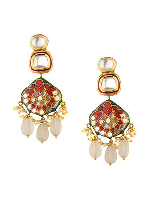 Green Red Gold Tone Kundan Earrings With Quartz And Pearls