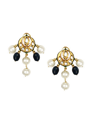 Blue Gold Tone Kundan Earrings With Agate Quartz And Pearls