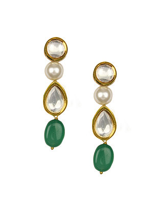 Green Gold Tone Kundan Earrings With Quartz And Pearls