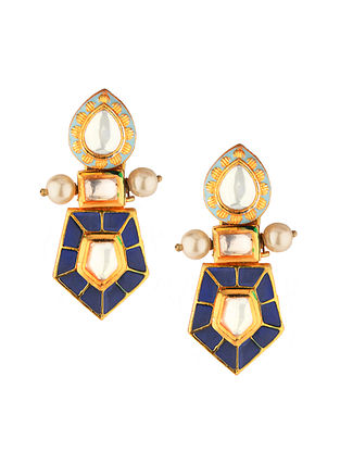 Blue Gold Tone Kundan Enameled Earrings With Pearls