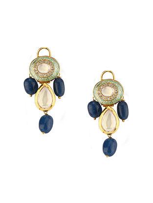 Blue Gold Tone Kundan Earrings With Agate
