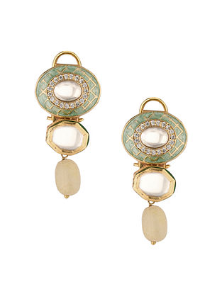 Green Gold Tone Kundan Earrings With Quartz
