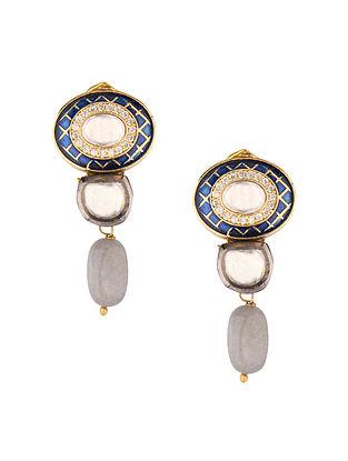 Blue Grey Gold Tone Kundan Earrings With Quartz