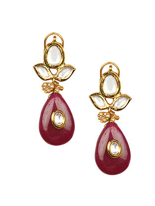 Maroon Gold Tone Kundan Earrings With Jade