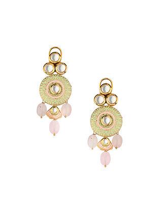 Pink Green Gold Tone Kundan Enameled Earrings With Rose Quartz