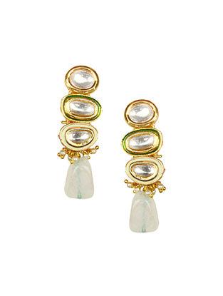Gold Tone Kundan Earrings With Agate