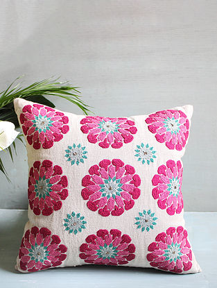 Pink Multicolored Embroidered Cushion Cover (16inX16in)