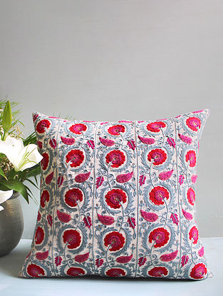 Pink Multicolored Embroidered Cushion Cover (18inX18in)