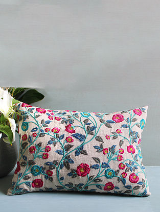 Pink Multicolored Embroidered Cushion Cover (14inX20in)