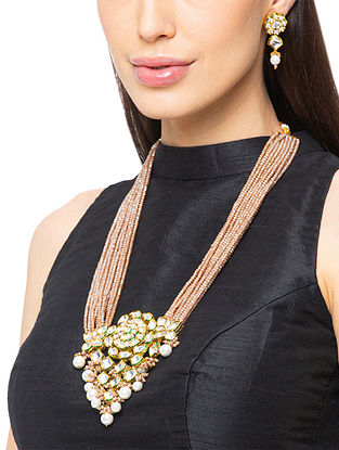 Brown Gold Tone Kundan Beaded Necklace And Earrings With Pearls
