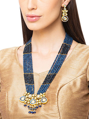 Blue Gold Tone Kundan Beaded Necklace And Earrings With Agate