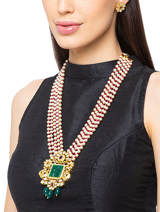 Green Red Gold Tone Kundan Necklace And Earrings With Pearls And Agate