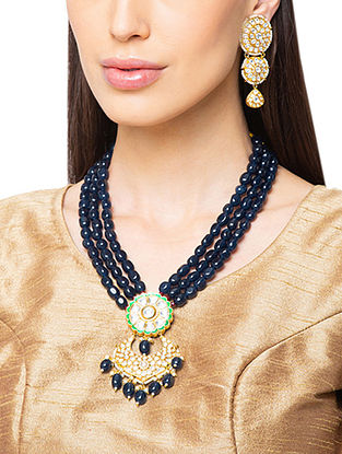 Blue Gold Tone Kundan Necklace And Earrings With Agate