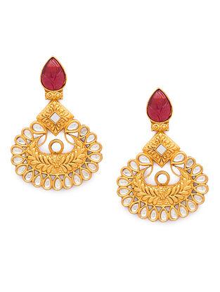 Pink Gold Tone Kundan Earrings With Tourmaline