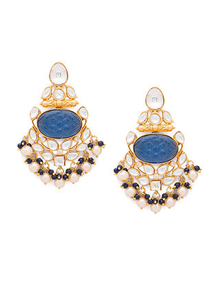 Blue Gold Tone Kundan Earrings With Onyx And Pearls