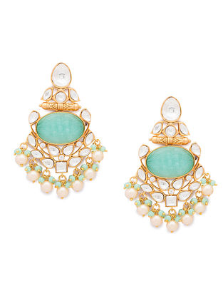 Green Gold Tone Kundan Earrings With Onyx And Pearls