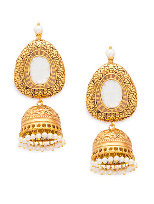 White Gold Tone Handcrafted Jhumki Earrings With Mother Of Pearl