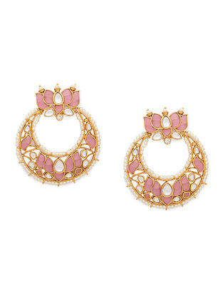 Pink Gold Tone Kundan Earrings With Agate And Pearls