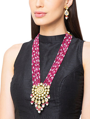 Pink Gold Tone Kundan Necklace And Earrings With Agate And Pearls