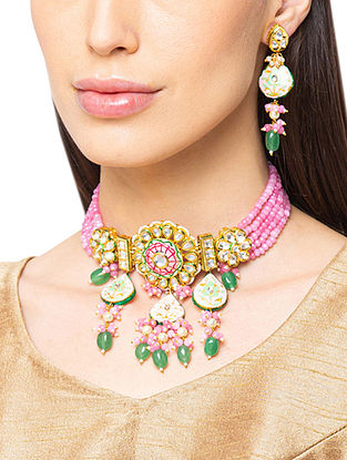 Pink Green Gold Tone Kundan Enameled Necklace And Earrings With Agate
