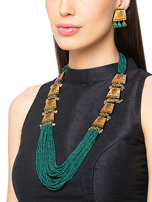 Peach Green Gold Tone Enameled Beaded Necklace With Earrings